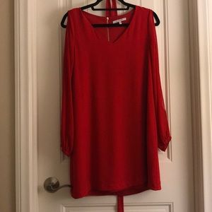 Red open sleeve dress with fabric belt option